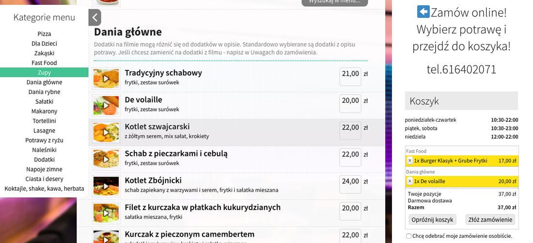 Przykład systemu zamówień online